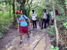 Mind how you go! Boys step out on sponsored charity walk